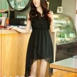 เดรสแฟชั่นแขนกุดกระโปรงเล่นระดับสีดำ trailing irregular hem tail chiffon vest sleeveless dress
