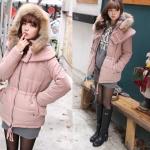 เสื้อกันหนาว เสื้อโค้ท แฟชั่นสไตส์เกาหลี มีขนเฟอร์ที่ hood สีชมพูสุดฮิต