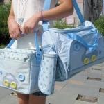 กระเป๋าคุณแม่ กระเป๋าสัมภาระลูกน้อย สีฟ้า 1เซ็ต มี3ใบ