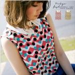 [Preorder] เสื้อชีฟองแฟชั่นแขนกุดลายจุดสีสดใส สีชมพู The collar piece geometry Chiffon vest