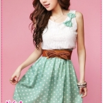 [Preorder] เดรสแขนกุดแฟชั่นสีเขียว sweet Korean splicing Leisi Bo point bow corsage dress