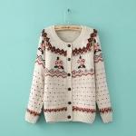 [Preorder] คาร์ดิแกนแฟชั่นแขนยาวลายหัวใจเล็กประดับดอกไม้ สีกากี 2014 new fall fashion European style hand-crocheted flowers pastoral style cardigan sweater round neck long-sleeved shirt