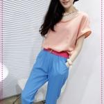 จั๊มสูทแฟชั่นสีชมพูฟ้าพร้อมเข็มขัดสีชมพู designs of mixed colors hit the color big piece harem pants