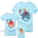 ชุดครอบครัว เสื้อครอบครัว ลายสกรีน ครอบครัวช้าง สีฟ้า SC0039 - พร้อมส่ง