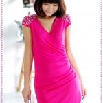 เดรสคอวีประดับหมุดที่ไหล่สีชมพู JackGrace elegant punk! Shoulder rivets, laminated fold dress