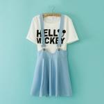 [Preorder] เสื้อยืดแขนสั้น Micky Mouse + เอี๊ยมกระโปรงบานสีฟ้า 2014 summer new Korean fashion ladies strap dress skirts short sleeve T-shirt + letter piece suit
