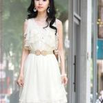 เดรสแขนกุดระบายสีขาว New Korean ladies solid color short sleeve flouncing was thin chiffon dress