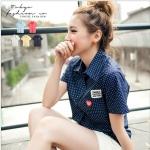 [Preorder] เสื้อเชิ๊ตแฟชั่นแขนสั้นลายจุด สีน้ำเงิน The embroidered Figure little pocket shirt (Tokyo Fashion 100% นำเข้าจากไต้หวัน)
