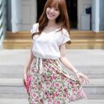 เดรสแฟชั่นเกาหลีเซต2ชิ้น เดรสแขนกุดลายดอกไม้+เสื้อตัวนอกสีขาว