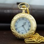 นาฬิกาพกฝาคริสตัลใสหน้าปัดมุกเลขโรมันพรีเมี่ยมตัวเรือนสีทอง