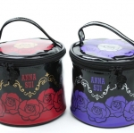 ANNA SUI rose pattern column drum form ハンドバッグバニティボックスコスメ accessory pouch