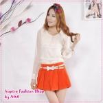 กระโปรงกางเกงแฟชั่นพร้อมเข็มขัดโบว์เก๋ๆ สีส้ม 2012 Korean Women fashion candy skirt pants / shorts color Skorts (Free Belt)