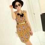 [Preorder] เดรสทำงานแฟชั่นแขนกุด ลาย gear pattern สีส้ม 2013 summer new Korean Women stretch pocket retro suit short-sleeved dress