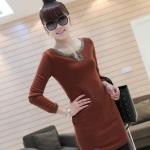 [Preorder] เดรสแฟชั่นแขนยาวเข้ารูปคอวี สีส้มอิฐ 2012 the new thickened models of the winter section classic dress V-neck long-sleeved Slim wild dress