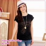 เสื้อยืดแขนสั้นปักผีเสื้อเป็นรูสีดำ features hollow butterfly dish casual cotton T knit tops