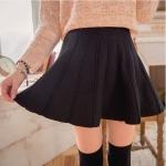 [Preorder] กระโปรงนิตติ้งสั้นแฟชั่นบาน สีดำ Straight-dimensional textured solid color knit skirt
