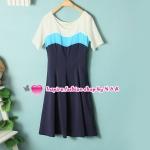เดรสแขนสั้นสีฟ้า Spring and summer new female fashion Korean mixed colors short sleeve Slim temperament dress round neck the swallowtail skirt dress