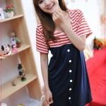 เดรสคลุมท้องคุณแม่ยุคใหม่ลายขวางสีแดงกระดุมหน้า 2012 Korean version of the new summer stripes cotton pregnant women dress maternity dress code relaxed pregnant women dress