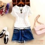 [Preorder] เสื้อแฟชั่นแขนสั้นสไตล์เกาหลี ปักลายเก๋ๆ ลายดอกไม้เล็ก 2015 summer new women's round neck small slit hollow Slim short sleeve T-shirt embroidered flowers