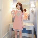 [Preorder] เดรสแฟชั่นแขนสั้นปกเชิ๊ต ประดับไข่มุกหน้าสุนัขจิ้งจอก สีชมพู (ไซส์ S M L) 2015 summer new Women Korean version of sweet pearl stitching short-sleeved dress female summer was thin Slim A word skirt