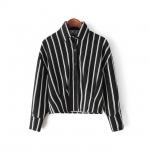 [Preorder] เสื้อเชิ๊ตแฟชั่นแขนยาวเอวลอยลายทาง สีดำ (ไซส์ M L) Spring 2015 Korean version of fashion casual short paragraph lapel bat sleeve vertical striped shirt blouse small shirt