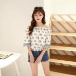 [Preorder] เสื้อแฟชั่นแขนสามส่วนจั๊มเอว ลายช้าง สีขาว (ไซส์ S M) 2015 summer new European and American fashion printing sexy elephant bat cuff head collar strapless tops Women T-shirt