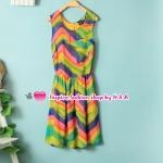 เดรสแขนกุดสีรุ้ง The new female fashion in Europe and America in the spring and summer rainbow color dress Slim temperament sleeveless vest, skirt dress