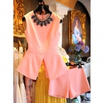 [Preorder] ชุดเสื้อแขนกุดแขนกุด + กางเกงขาสั้นสีชมพู (ไซส์ S M L XL) two new skirt white sleeveless summer 2014 Korean version of the influx of women's skirts Slim solid color dress