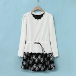 [Preorder] เดรสแฟชั่นแขนกุดพร้อมเสื้อคลุมตัวนอก สีขาว 2014 spring and summer new commuter Korean long-sleeved two-piece dress printed dress skirt suit women