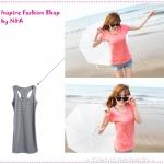 [Preorder] เสื้อกล้ามตัวยาว (ทำเป็นเดรสได้) ลายขวางสีเทา Stripes dig back long version of the vest