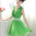 เดรสแขนกุดคอวีสีเขียว new 2012 summer cultivating sweet lace waistband Slim Dress temperament princess dress