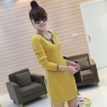 [Preorder] เดรสแฟชั่นแขนยาวเข้ารูปคอวี สีเหลือง 2012 the new thickened models of the winter section classic dress V-neck long-sleeved Slim wild dress
