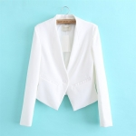 [Preorder] เสื้อสูททำงานแฟชั่นแขนยาว แบรนด์ Achielry สีขาว 2014 spring new European and American stations European family with money pocket stitching leather sleeved knit suit jacket suit women