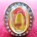 สินค้าจองค่ะ แหวนพลอยมณีใต้น้ำ(เพชรพญานาค)สีเหลืองเนื้อทองขาวล้อมเพชร(ทุกราศี)ค่ะ