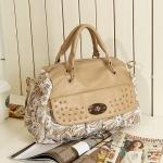 กระเป๋าถือแฟชั่นสีครีม แต่งด้วยผ้าลูกไม้สีขาว