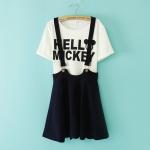 [Preorder] เสื้อยืดแขนสั้น Micky Mouse + เอี๊ยมกระโปรงบานสีน้ำเงิน 2014 summer new Korean fashion ladies strap dress skirts short sleeve T-shirt + letter piece suit