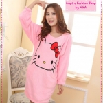 [Preorder] ชุดนอนเดรสกระโปรงแขนยาวแฟชั่น Hello Kitty สีชมพู Ms. autumn and winter coral fleece pajamas nightgown new cute hello kitty thick tracksuit