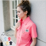 [Preorder] เสื้อเชิ๊ตแฟชั่นแขนสั้นลายจุด สีชมพู The embroidered Figure little pocket shirt (Tokyo Fashion 100% นำเข้าจากไต้หวัน)