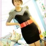 เดรสแขนสามส่วนเข้ารูปสีดำ JackGrace geometric mosaic stripes bubble sleeve dress