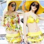 [Preorder] เซ็ท Bikini กระโปรงพร้อมเสื้อแขนยาวลายดอกไม้ สีเหลือง 2014 Korea BIkINI swimsuit small chest big chest steel prop gather bikini denim skirt split swimsuit women