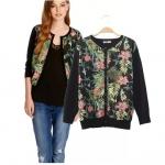 [Preorder] เสื้อแจ๊กเก็ตแขนยาวลายดอกไม้สีดำ แบรนด์ ASOS (ไซส์ S M L) Europe and the United States in summer and autumn 2014 new women ASOS same paragraph retro print cardigan sweater coat jacket
