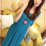 เดรสยาวแขนกุดระบายด้านหน้าสีน้ำเงิน 2012 summer beach holiday essential! Bloom light Mature Pleated temperament dress (Preorder)