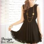 เดรสแขนกุดระบายลูกไม้สีดำ deep v word back lace stitching sexy skirt dress