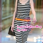 จั๊มสูทขายาวลายขวาง eminine stripes Slim loose influx of women piece pant