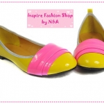 [Preorder] รองเท้าส้นเตี้ยคลุมส้นสีเหลือง new 2012 patent leather shoes candy colored Korean fashion shoes casual shoes