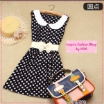 [Preorder] เดรสแฟชั่นแขนกุดลายจุดสีดำ 2012 summer new Institute of Korean version of sweet cotton vest dress simple and natural