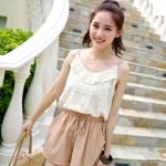 [Preorder] จั๊มสูทแฟชั่นสายเดี่ยวกางเกงขาสั้น สีชมพู 2013 summer new Korean Shopping spaghetti straps lace stitching jumpsuit shorts