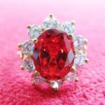 สินค้าหมดค่ะ แหวนทับทิมแดงทองเหลืองล้อมเพชรแบบผู้หญิง(ราศีกรกฎ)แบบเล็กค่ะ