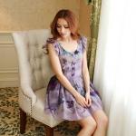 [Preorder] เดรสแฟชั่นแขนสั้นระบายสกรีนลายดอกไม้เก๋ๆ สีม่วง 2013 summer new single-breasted lace short-sleeved round neck pleated dress skirt big flower