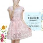 [Preorder] เดรสแฟชั่นแขนกุดประดับลวดลายเก๋ๆ สีชมพู (ไซส์ S M L XL 2XL 3XL) 2015 Slim chiffon dress women's summer dress tide suit summer long section piece fitted skirt tutu